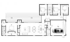 Projects - Dwell Homes Narrow House Plans, Simple House Plans, House Plans One Story, Tiny House Plans, Modern House Plans, House Floor Plans, Atrium House, Circle House, Tropical House Design