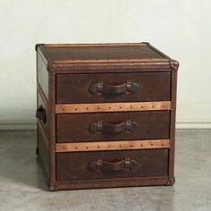Superieur Steamer Trunk End Table Or Bedside Table   Gorgeous Leather!
