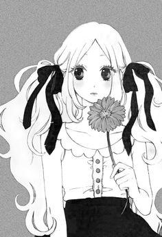 manga and hibi chouchou image Manga Girl, Manga Anime, Anime Girls, Anime Girl Drawings, Cute Drawings, Hibi Chouchou, White Art, Black And White, Aesthetic Images