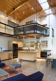 bedroom loft right over the kitchen. Totally open floor plan. This is exactly what we have been talking about! <3