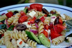 Greek Pasta Salad - feta, roma, red onion, cucumber, bell pepper, salad dressing