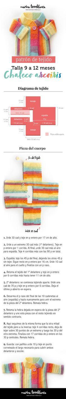 Desde que empecé a publicar las primeras fotos de este chaleco arcoiris a crochet para bebé de inmediato mucha gente pidió su patrón. ¡Aquí está!