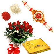 Flowers Bouquet Chocolate Hamper With Rakhi