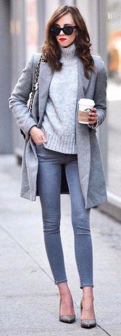 all grey everything | morning coffee running
