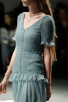 Structural Smocking - delicate duck egg blue smocked dress; fabric manipulation for fashion; textile textures // Rodarte AW14