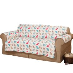 Miles Kimball Felix sofa protector shields your favorite couch from paws, claws, accidents and stains in a fun feline print. Water-repellent and easily washes.