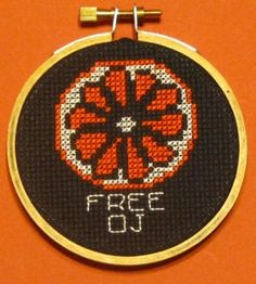 """""""Free OJ Threezle"""" - From CrassCross. The cross stitch pattern to make this piece is available for just $3.  """"Threezle"""" - a small cross stitchdesigned by Pete Seazle,framed in a3-INCH HOOP. Now available at my NEW STORE, CrassCross.com! Click the pic to check it out!"""