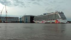 The newest cruise ship for Norwegian Cruise Line has floated out of its construction hall for the very first time.