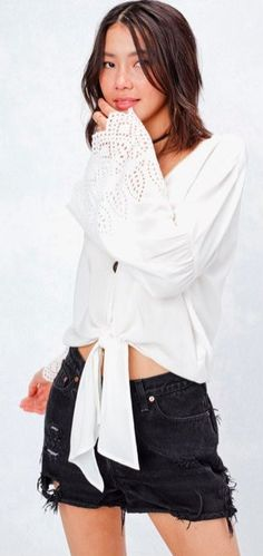2339328b8bef My Reflection White Eyelet Front-Tie Top
