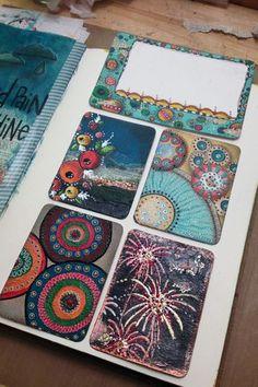 art Journal inspiration. Mixed Media Project Life Cards - Gwen Lafleur