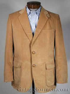Vintage 60s Tan Corduroy Sportcoat Blazer Hunting Jacket Suede Elbow Patches Size 42R #vintageformen #mensvintage #vintagemen #vintageman #vintagemenswear #vintage #corduroy