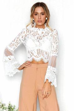 0c136398b27b6 Elegant Flare Sleeve Hollow Out White Lace Blouse Shirt -  FashionandLove.com Crop Top Shirts
