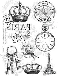 Clocks, Keys, Crowns And Paris Transfers Decoupage Vintage, Etiquette Vintage, Foto Transfer, Transfer Printing, Images Vintage, Paris Images, Graphics Fairy, Style Retro, Printable Labels
