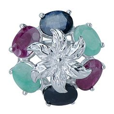 Gorgeous Natural Sapphire Ruby Emerald Gemstones 925 Sterling Silver Ladies Ring available at joyfulcrown.com