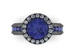 Diamond Halo Blue Sapphire Engagement Ring 14K Black Gold Blue Sapphire Ring with 7mm Round Blue Sapphire Center - V1032 on Etsy, $1,335.00