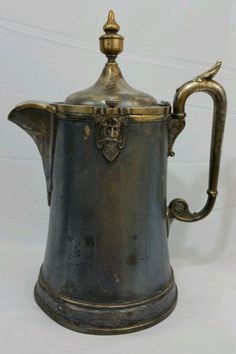 """REED and BARTON 1854 Antique Water Ice Pitcher Jug #1285 13"""" 7 Cup Ornate Rare #ReedBarton"""