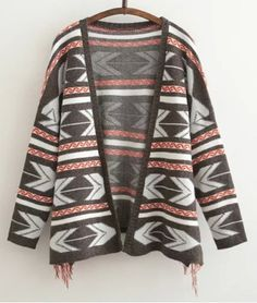 Stylish Fringed Design Geometric Print Long Sleeve Cardigan For WomenSweaters & Cardigans | RoseGal.com