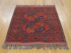 $394 - closet 4' x 4' Square 100 Percent Wool Afghan Ersari Hand Knotted Oriental Rug Sh22891
