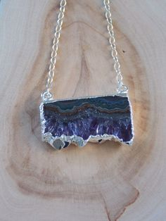 Amethyst Slice Pendant Necklace on Sterling by MalieCreations, $42.00