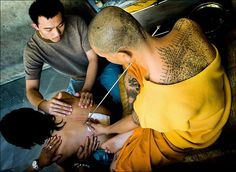 Magic Tattoo`s in temples in Thailand © Jørgen Flemming.