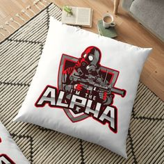 'I'm The Alpha Floor Pillow by CavemanMedia Work From Home Moms, Pillow Design, Floor Pillows, Decorative Throw Pillows, Cushions, Flooring, Printed, Awesome, Home Decor