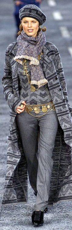 Chanel ~ Fall Grey + Navy Maxi Sweater 2004