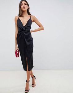 Buy ASOS DESIGN midi strappy cami with knot front plunge in satin at ASOS. Get the latest trends with ASOS now. Mode Boho, Mode Chic, Knot Dress, Dress Skirt, Apron Dress, Wrap Dress, Looks Party, Boho Fashion, Fashion Outfits