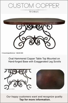 Oval Copper Table Top Mounted on Hacienda Style, Hand-forged Table Base - 73 Table Design, Table, Spanish Colonial Decor, Oval Table Dining, Copper Top Table, Copper Table, Patina Color, Table Base, Iron Table