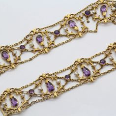Gold, amethysts and natural pearls. Wedding Jewelry, Gold Jewelry, Vintage Jewelry, Unique Jewelry, Jewellery, Gold Choker Necklace, Collar Choker, Pendant Necklace, Deep Purple Color