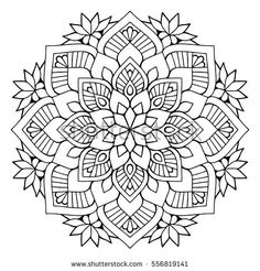 Flower Mandalas. Vintage decorative elements. Oriental pattern, vector illustration. Islam, Arabic, Indian, turkish, pakistan, chinese, mystic, ottoman motifs. Coloring book page mandala