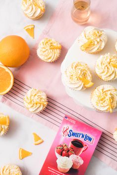 Try our Sweet'N Low recipe for Mimosa Cupcakes! Sweet Desserts, Delicious Desserts, Sweet And Low, Filled Cupcakes, Brunch Party, Orange Zest, Party Treats, Cream Cheese Frosting, Champagne
