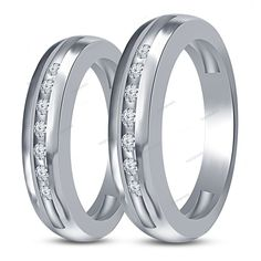 925 Silver 14K White Gold Finish Round D/VVS1 Diamond Couples Band Ring Size 5 6…
