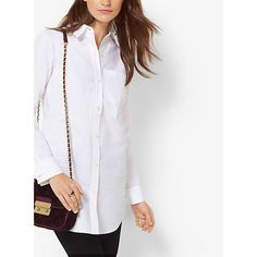 MICHAEL Michael Kors Cotton-Poplin Shirt ($38) ❤ liked on Polyvore featuring tops, white, white tops, michael michael kors tops, white shirt, oversized shirt and cotton poplin shirt