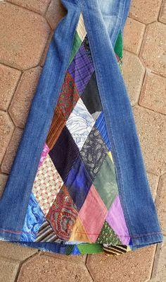 Upcycled Diamond Patchwork Bell Bottom Women's Jeans - - Upcycled Diamond Patchwork Bell Bottom Women's Jeans Denim jeans fashion Upcycled Diamond Patchwork Bell Bottom Women's Jeans Ropa Upcycling, Jeans Refashion, Recycle Jeans, Diy Old Jeans, Repurpose, Clothing Hacks, Upcycled Clothing, Denim Ideas, Denim Crafts