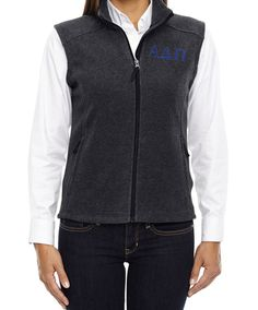 Alpha Delta Pi Sorority Gray Fleece Vest | Key Your Spirit, LLC