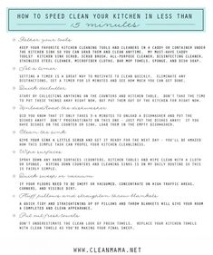 How to Speed Clean Your Kitchen in Less than 15 Minutes via Clean Mama Cleaning Checklist, Cleaning Recipes, House Cleaning Tips, Diy Cleaning Products, Cleaning Hacks, Kitchen Cleaning, Cleaning Schedules, Spring Cleaning, Less Is More