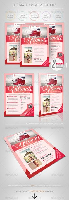 Creative Studio - A4 Flyer Template  #GraphicRiver         [ Creative Studio/Wedding Photography – A4 Flyer Template ]   A4 + 6mm Bleed, CMYK Print Ready.   Photoshop PSD CS2 or higher – 300DPI (resizable/increasable)  2 PSD files & 2 Layouts   Easy to customize and Change Color  Excellent for your multipurpose corporate usage.  Font used: Lato,Social Logos,Aleo,Great Vibes,Nexa,Charis,Wisdom Script   Exclusive on Graphicriver Only.  Preview images/photos/Logos are not included, for…
