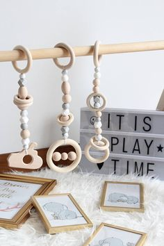 Light grey wooden play gym toys / Set of 3 toys / Safe for