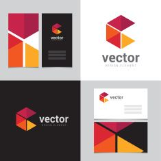 Logo design element with two business cards - 17 vector art illustration
