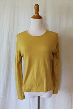 BURBERRY Mustard Yellow Superfine New Wool Crew Neck Pullover Made in England L #Burberry #Crewneck