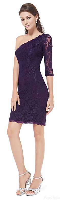 Ever Pretty 03846 One Shoulder Short Lacey Dress