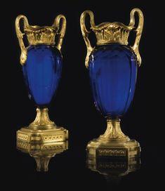 APAIR OF GILTBRONZE MOUNTED BLUE GLASS VASES, LOUIS XVI
