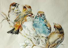 "DELICATE antique FRENCH Original watercolor ""BIRDS"" Signed Louise Berthelon"
