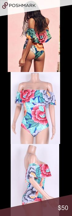 Peony Printed SwimSuit 🔥Peony Printed Flounced Off Shoulder One-Piece Swimsuit 💠Shown Color: Blue 💠Type: Removable Cups, Wireless 💠Fabric: Spandex 💠Style: Beach 💠Pattern: Floral Print 💠Embellishment: Ruffles 💠Design:Clothes 💠Neckline: Off-the-Shoulder 💠Sleeve Length: Short Sleeve 🌹Bust(inch)S :30¾, M :32¾, L :34¾, XL :36½ 🌹Waist(inch)S :23½, M :25½, L :27½, XL :29½ 🌹Hips(inch)S :34¾, M :36½, L :38½, XL :40½ Swim
