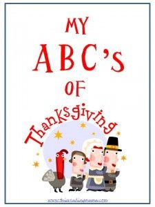 FREE ABCs of Thanksgiving printable book - writing/drawing about the things for which we are grateful!!