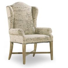 Wing Back Dining Arm Chair - Parchment Document Fabric - Set of 2