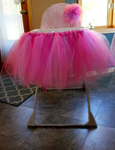 Project Nursery - Tutu Highchair for this Tutu Birthday Party Birthday Highchair, Birthday Tutu, 2nd Birthday Parties, Birthday Cakes, Birthday Ideas, Barbie Theme Party, Party Themes, High Chair Tutu, Childrens Rocking Chairs