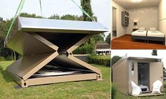The Flexotel collapsible hotel room is designed to provide quick, cheap accommodation to outdoor events like music festivals and is aimed at crowds who do not enjoy the discomfort of camping.
