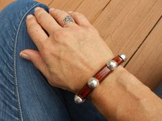Thick leather bracelet with bold silver sliders by IndieLeather