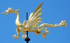 Weathervane atop the clock tower of Sir John Bennett's Sweet Shop in Greenfield Village.